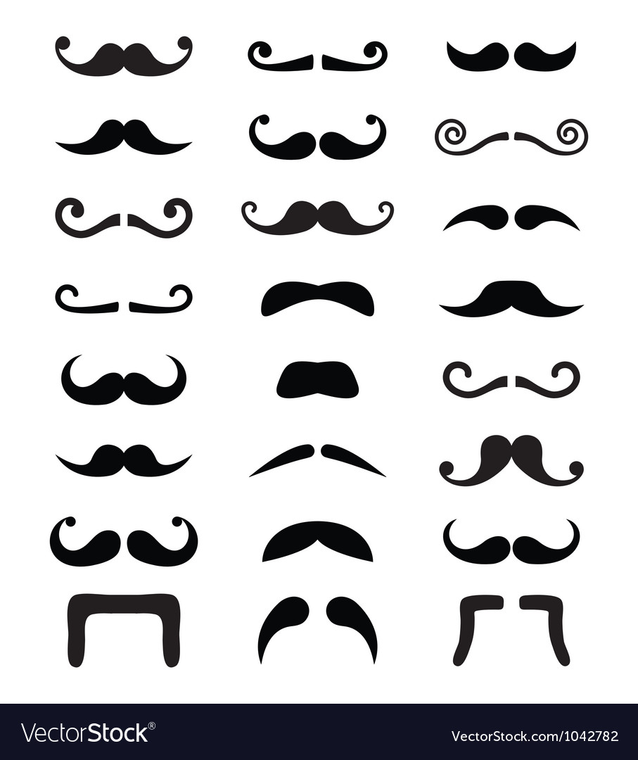 Moustache icons isolated set vector