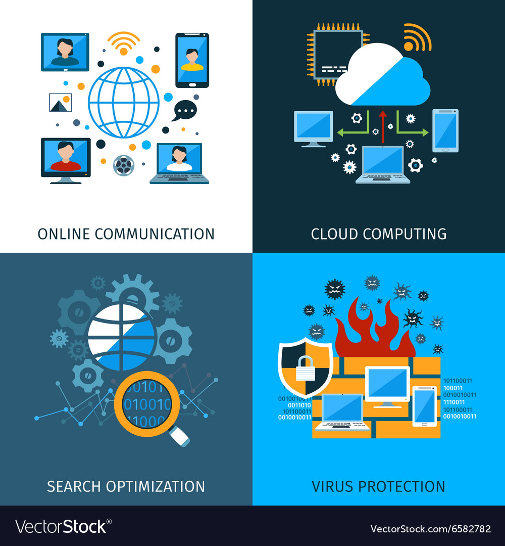 Network security concept set vector