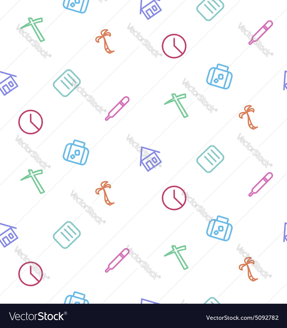 Seamless pattern from set of life icons work vector
