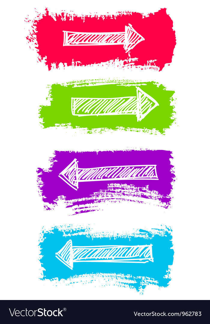 Arrows and grunge color brush set vector