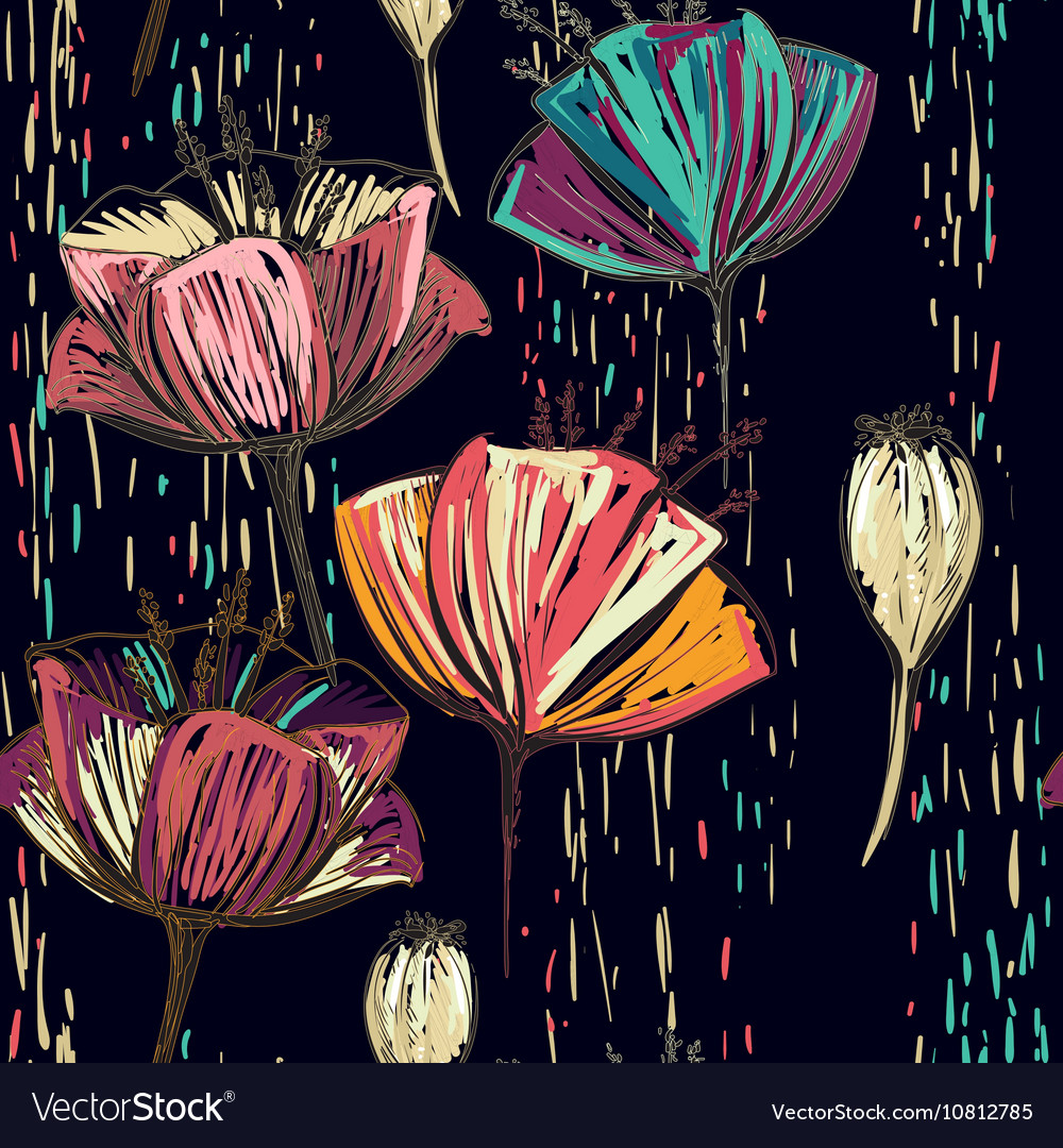Colorful tulips on the black background vector