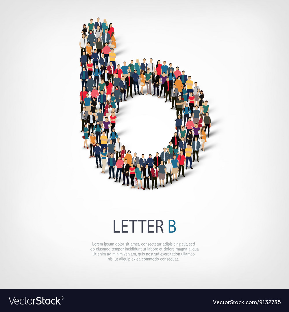 Group people shape letter b vector