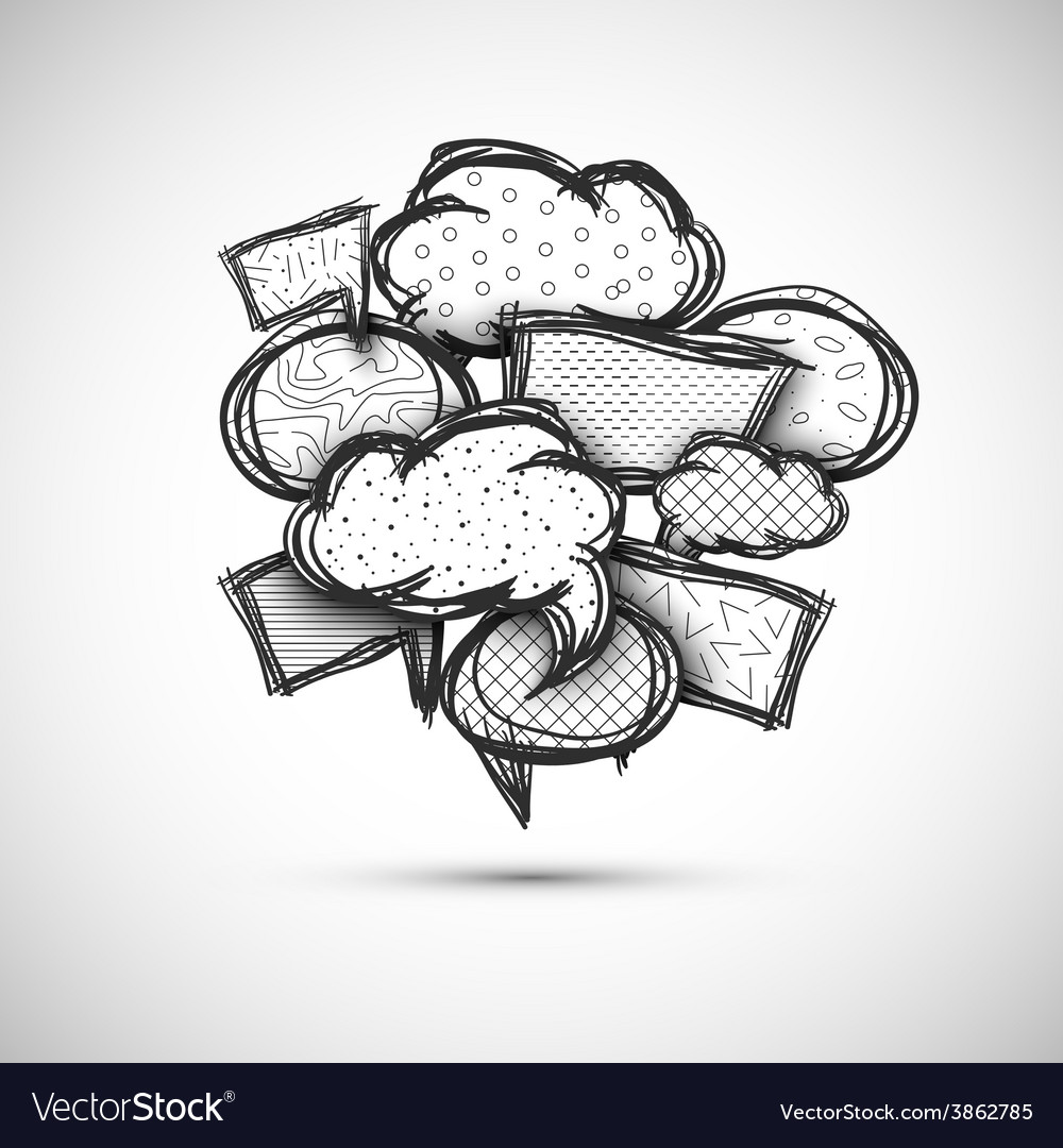 Hand drawn bubble speech vector