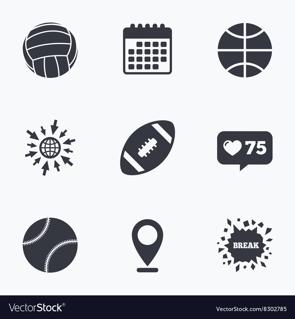 Sport balls volleyball basketball baseball vector