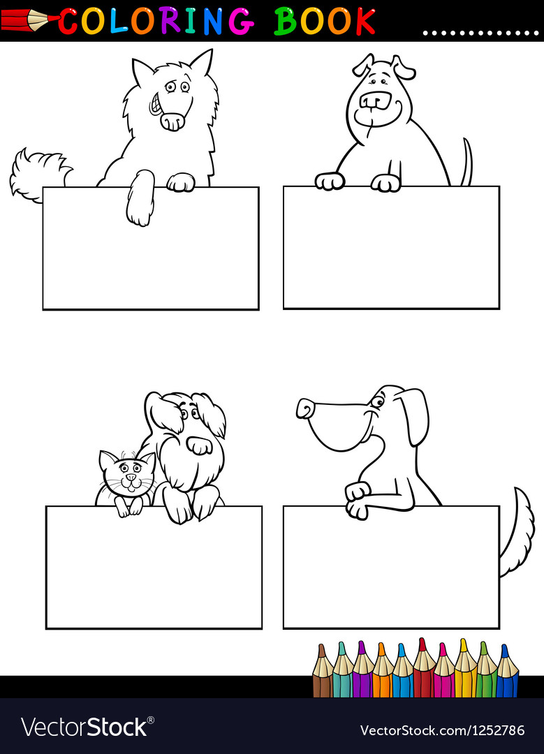 Cartoon dogs with cards coloring page vector