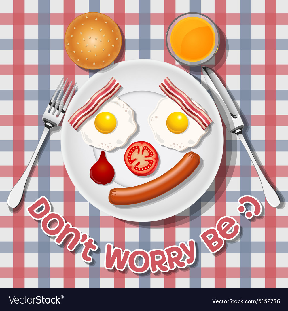 Crying bear make with fried egg sausage and bacon vector