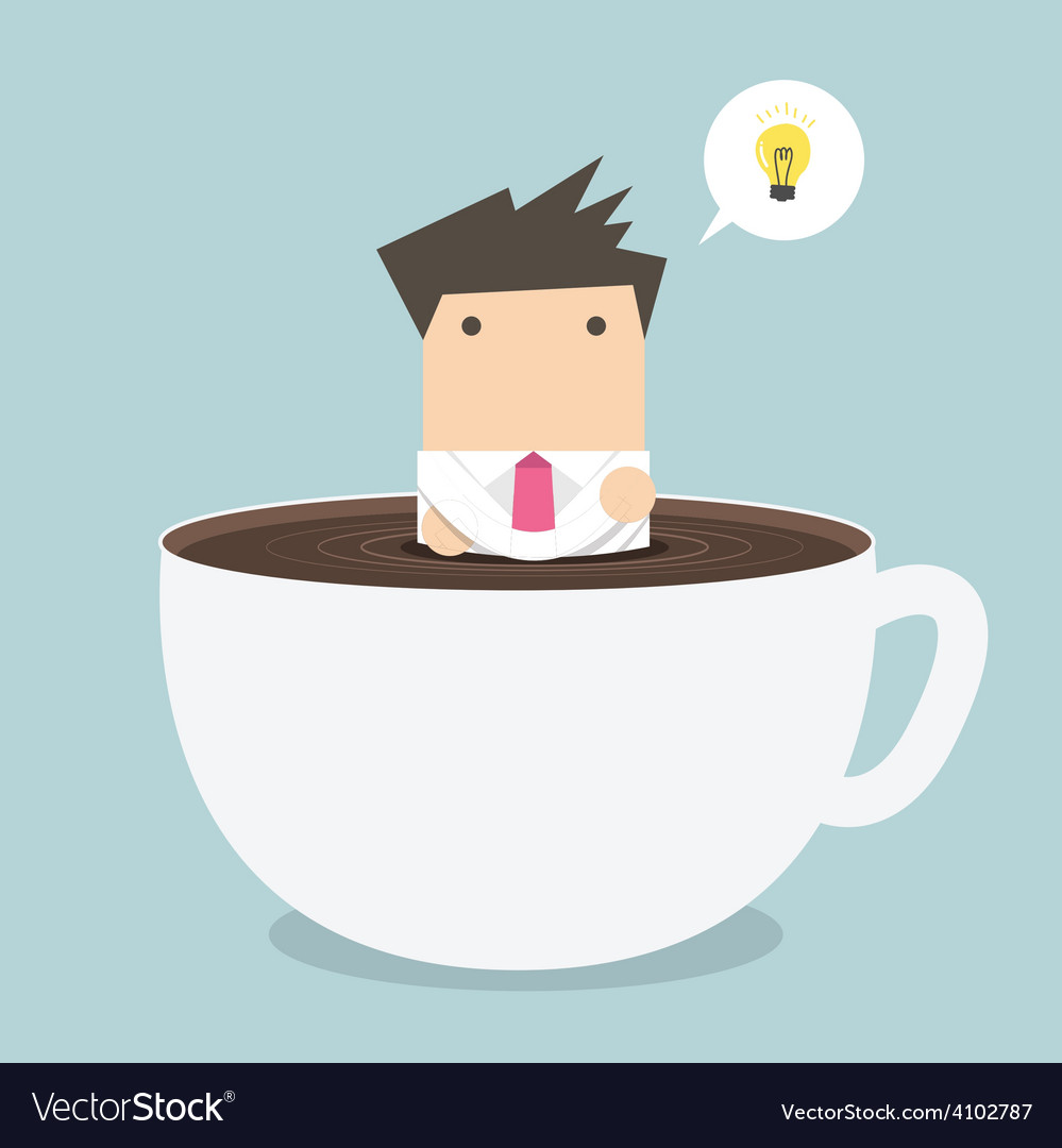 Businessman thinking in a coffee cup vector