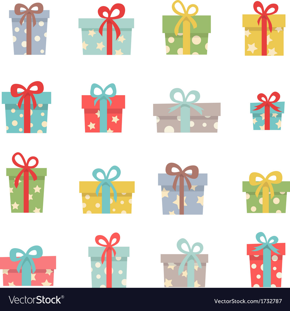Set of cute christmas gifts vector
