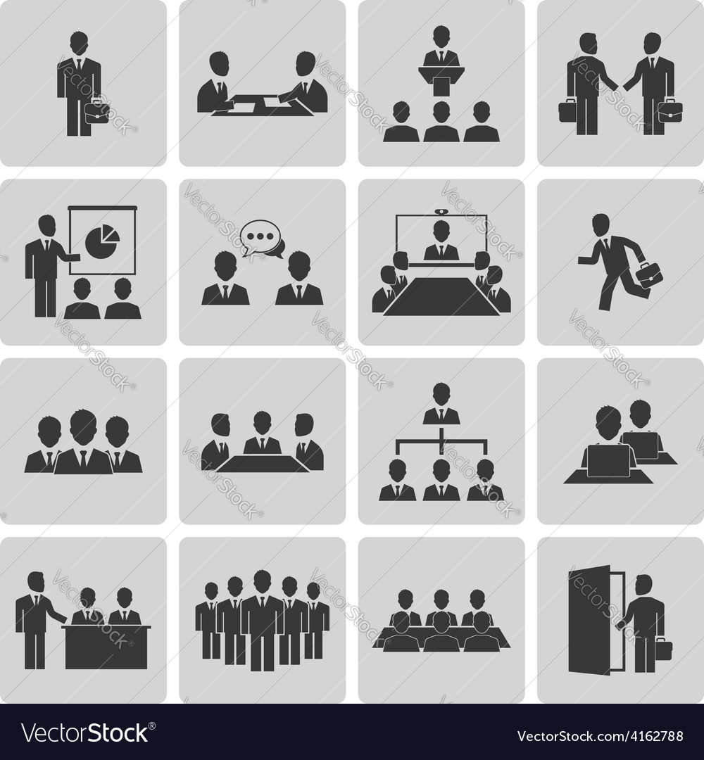 Business meeting and conference icons set vector