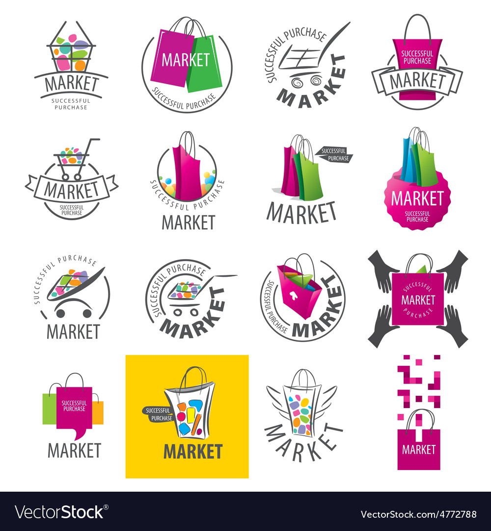 Large set of logos for market vector
