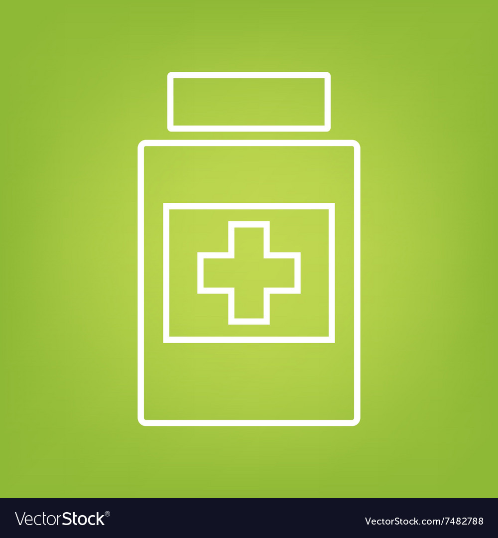 Medical container line icon vector