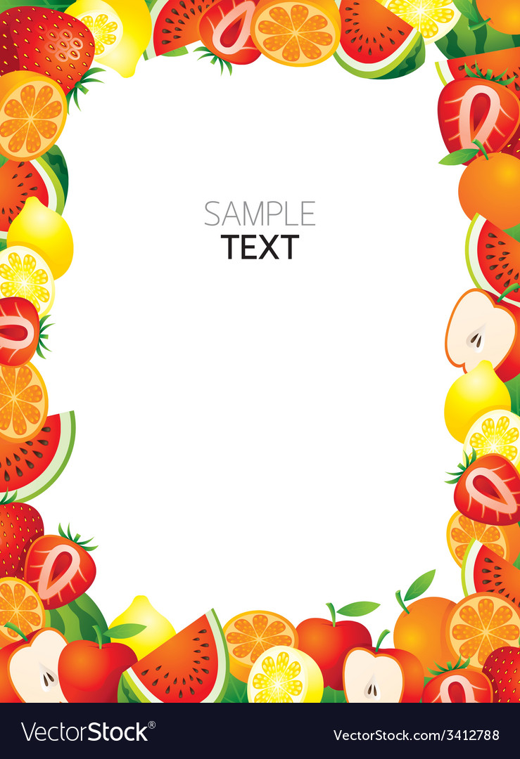 Mixed fruits frame border vector
