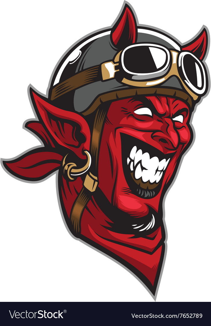Devil head rider wearing an old helmet vector