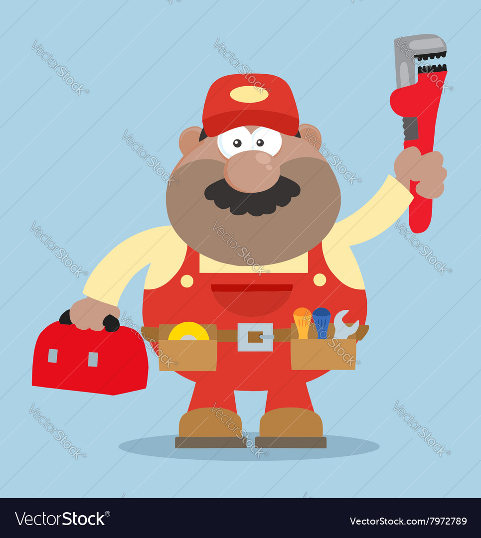 Happy mechanic cartoon with a toolbox vector