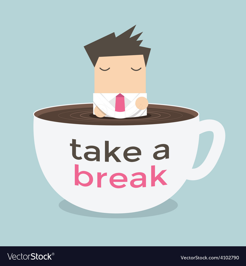 Businessman take a break in a coffee cup vector