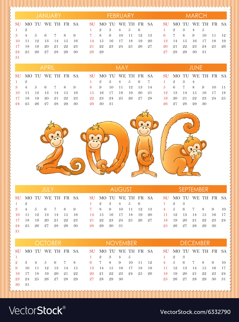 Calendar year monkey vector