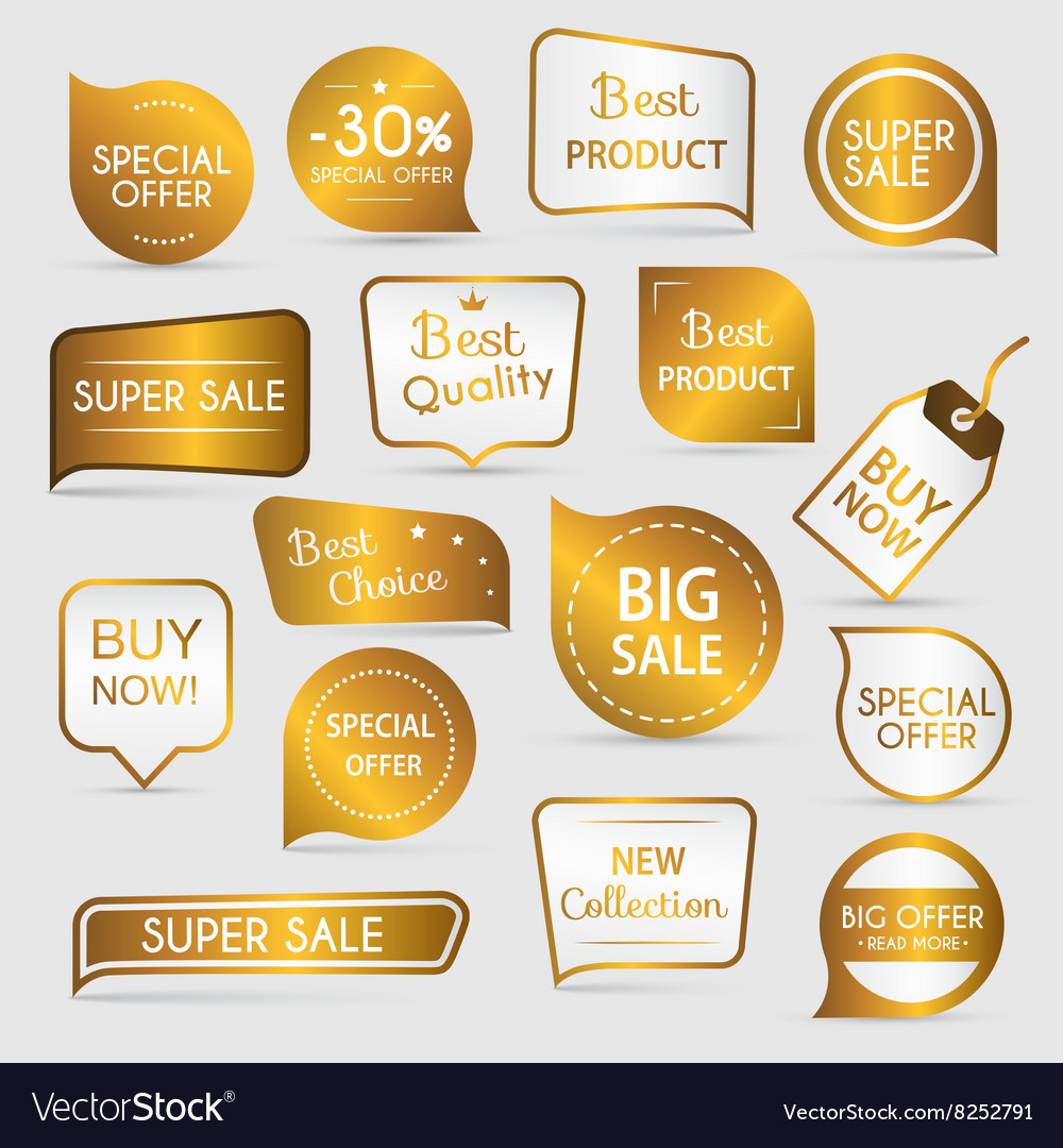 Collection of golden premium promo sealsstickers vector