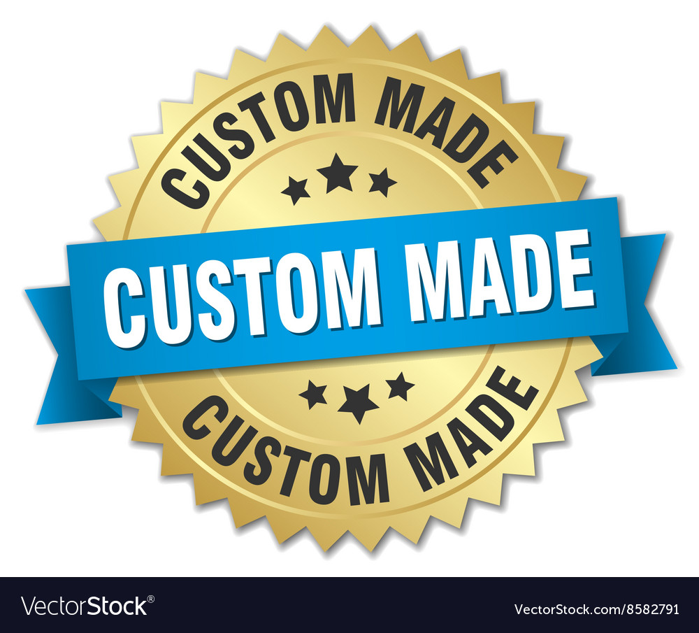 Custom made 3d gold badge with blue ribbon vector