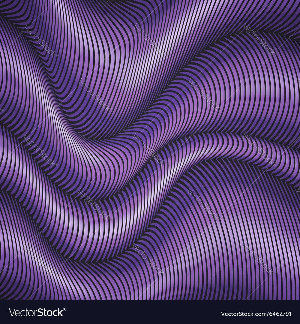 Purple striped waves 3d abstract background vector