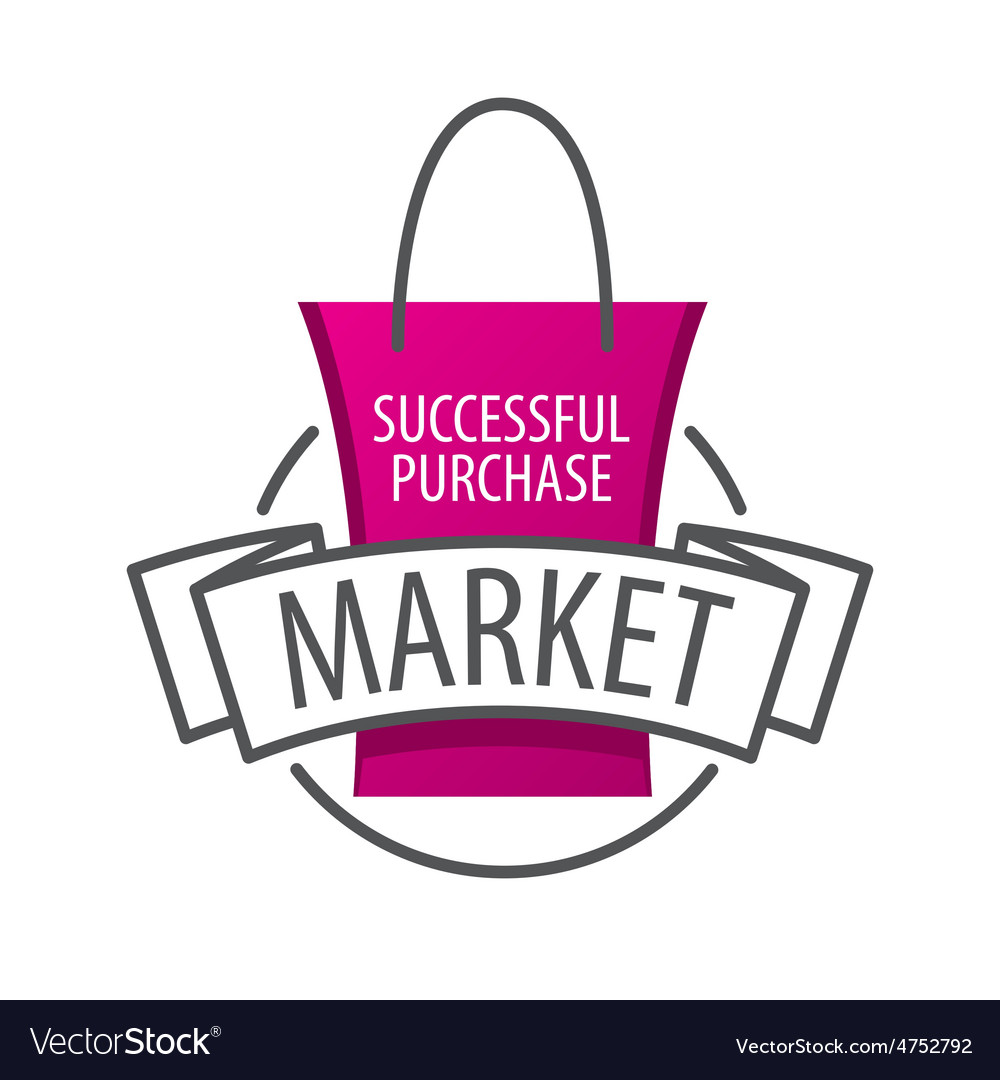 Logo shopping bag on the market vector