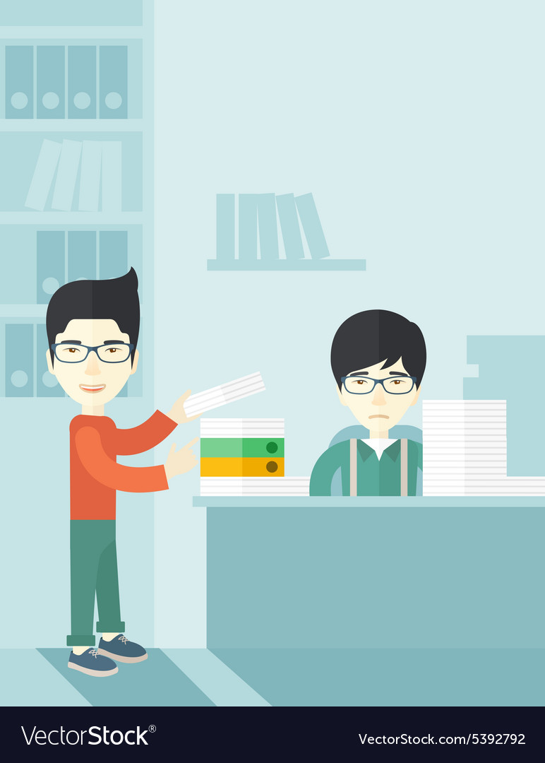 Two asian office clerk inside the office vector