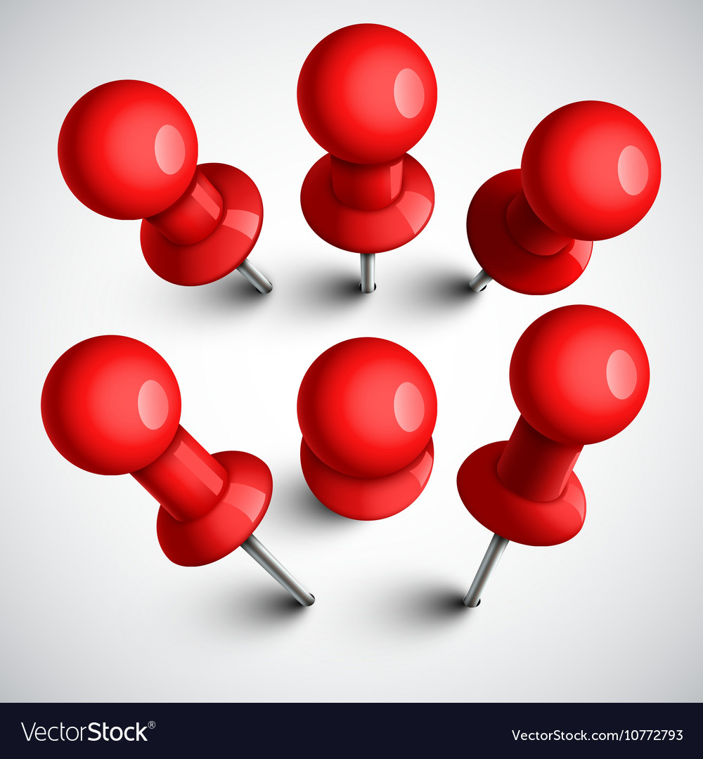 Red push pins thumbtack set vector