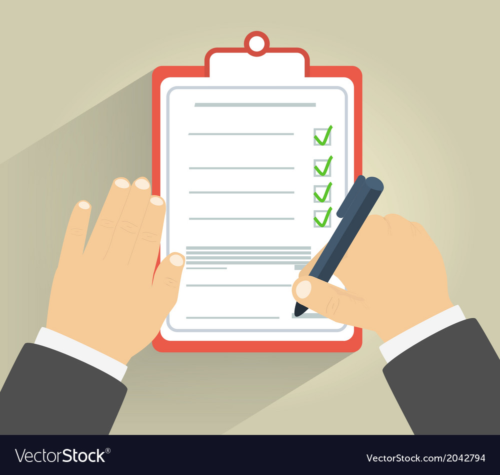 Businessman holding a clipboard and writing vector