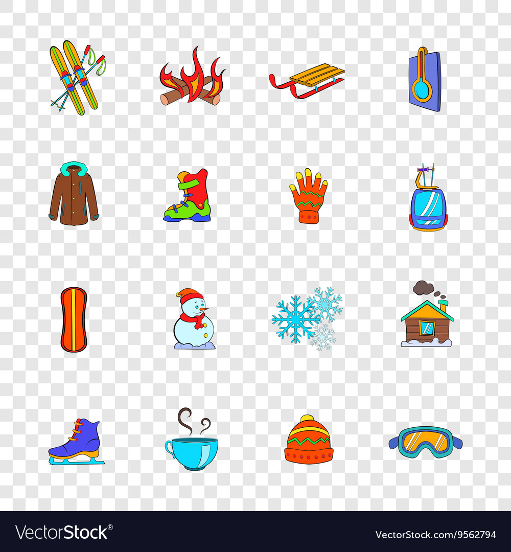 Winter icons set popart style vector