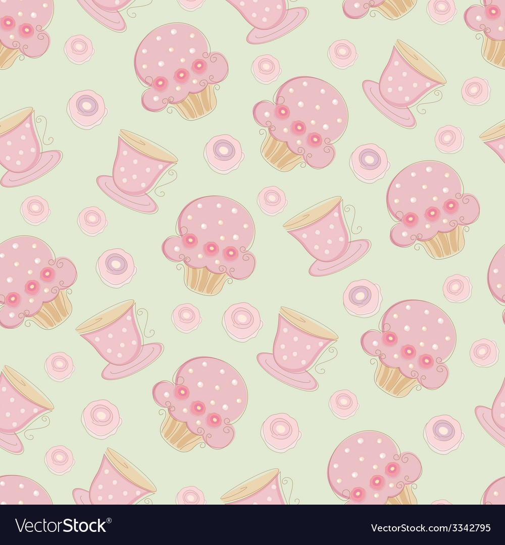 Vintage seamless pattern with cakes and cups vector