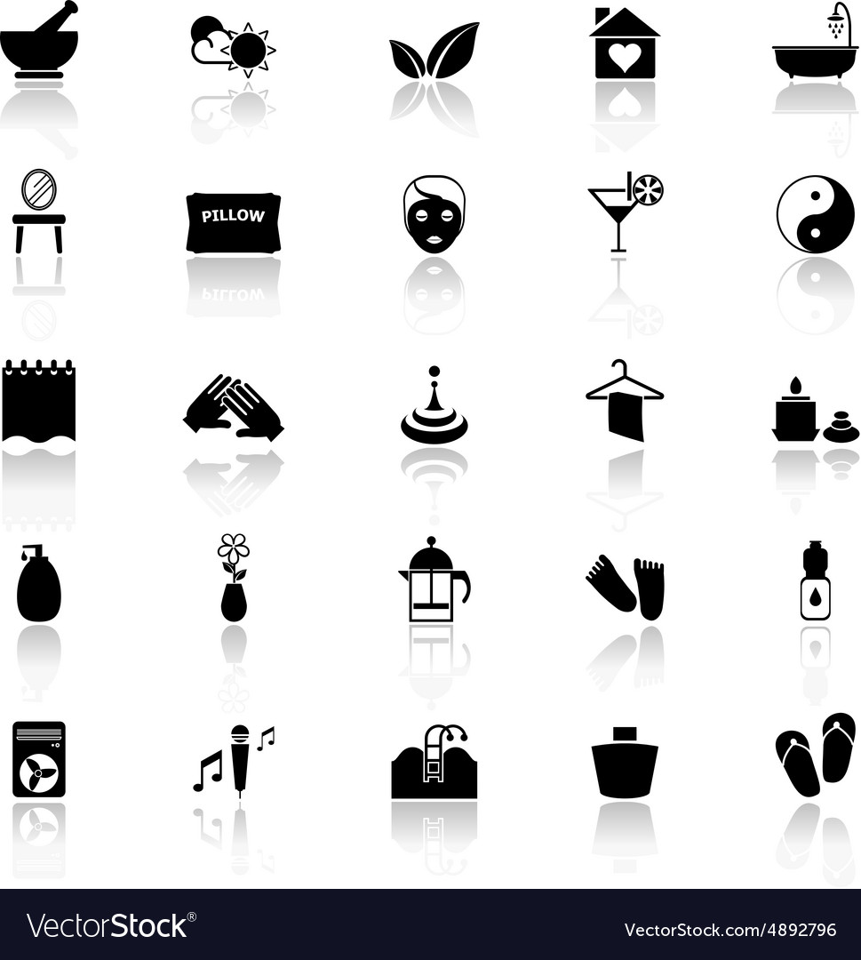 Massage icons with reflect on white background vector