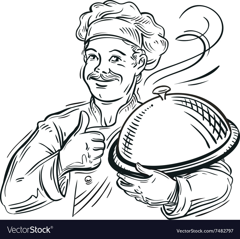 Chef with a tray in his hand vector