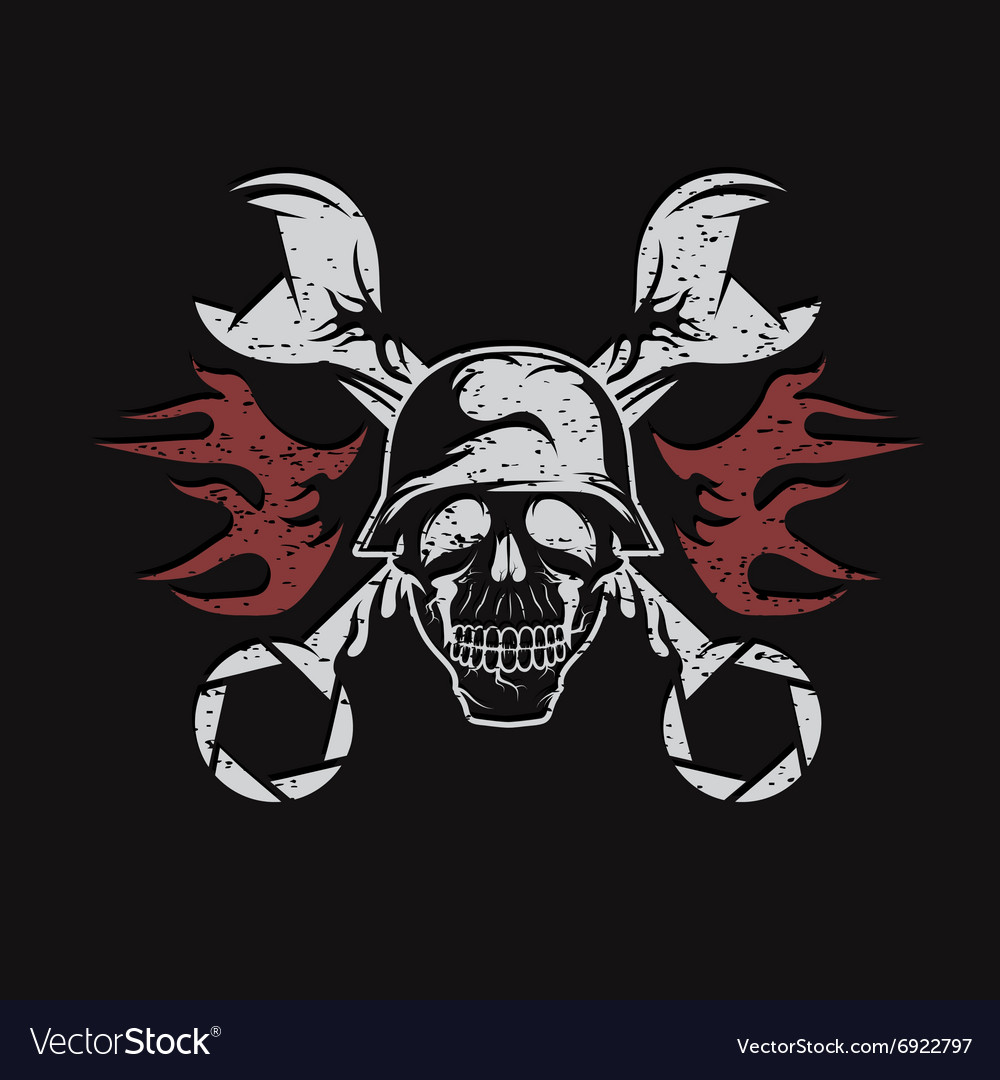 Grunge bikers theme emblem with skullflames and vector
