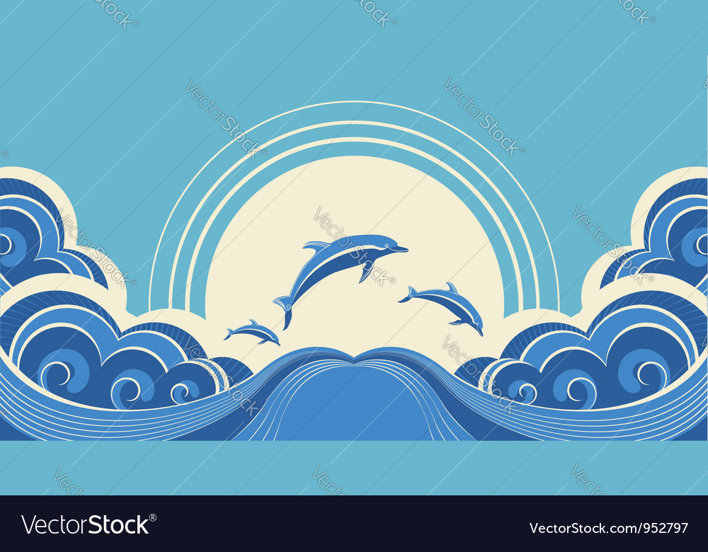 Seascape with dolphins in water vector