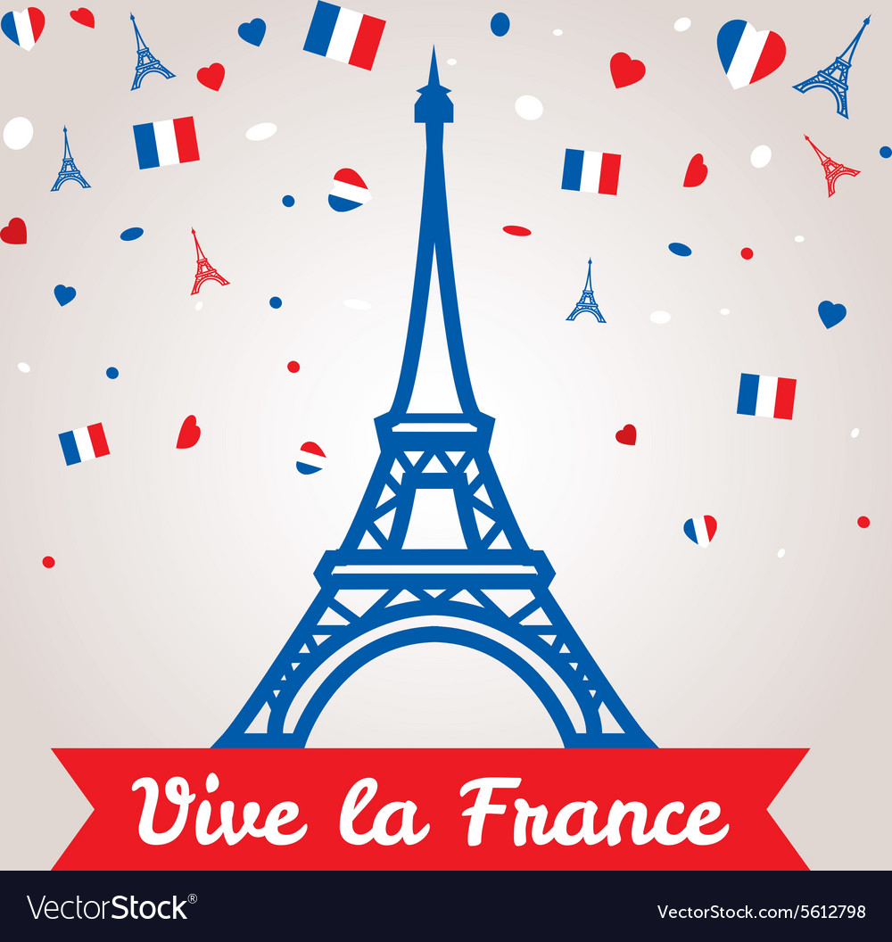 Greeting card design for the bastille day 14 july vector