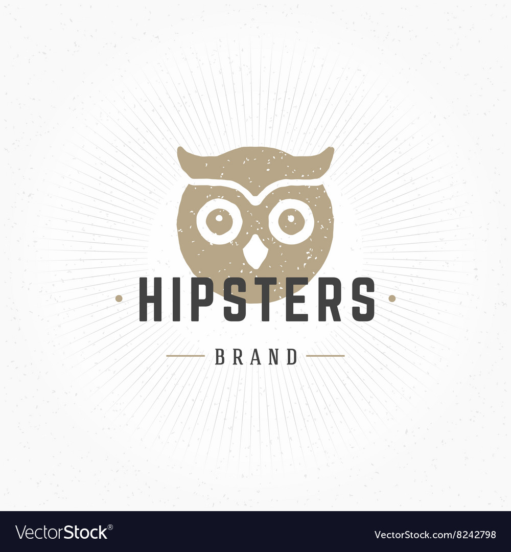 Owl head hand drawn design element in vintage vector
