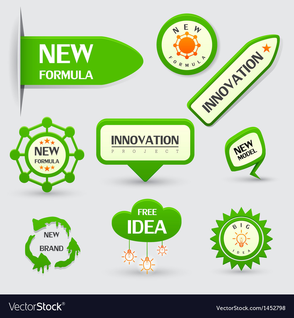 Set of green new formula labels vector