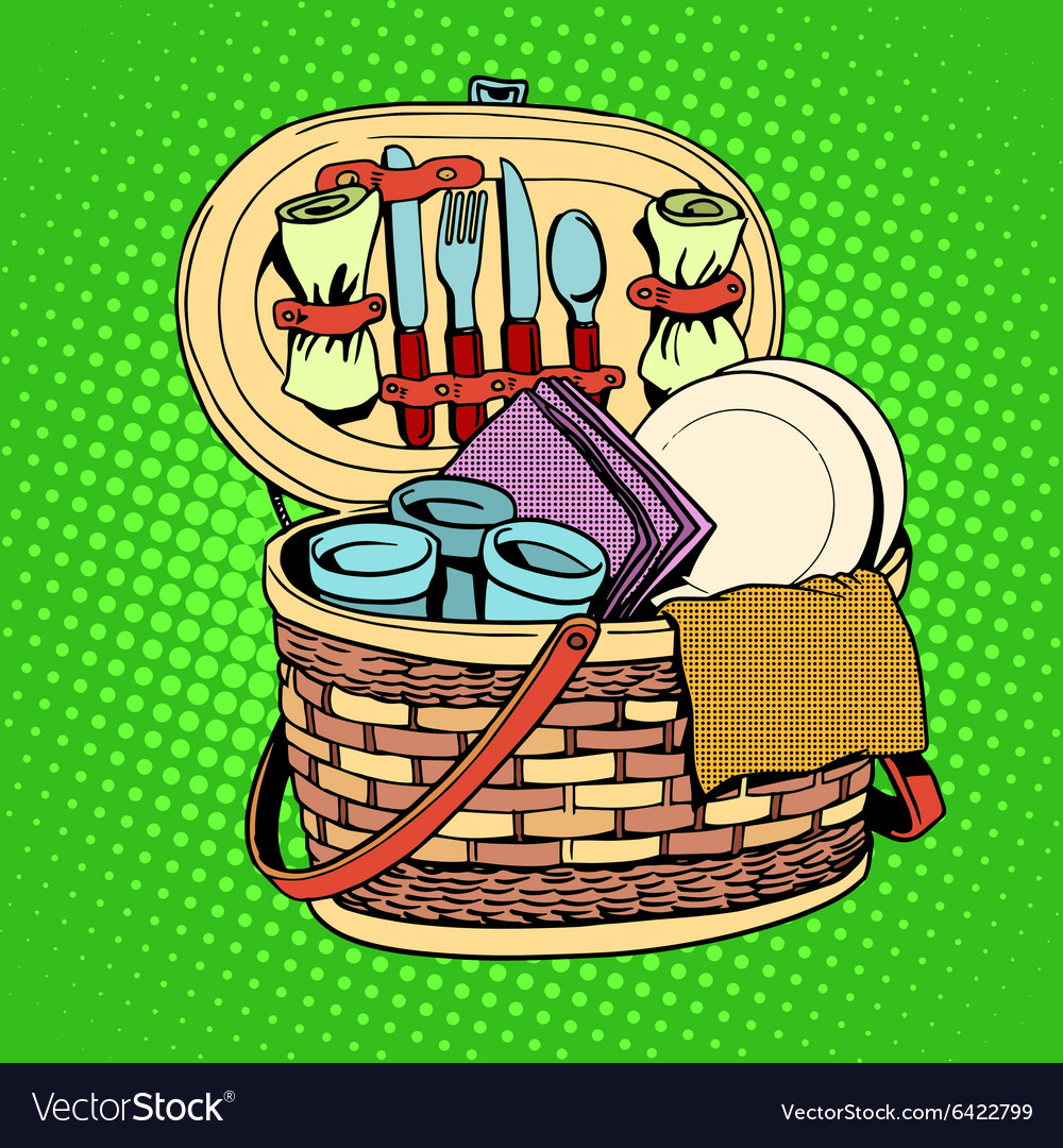 Breakfast picnic basket nature vector