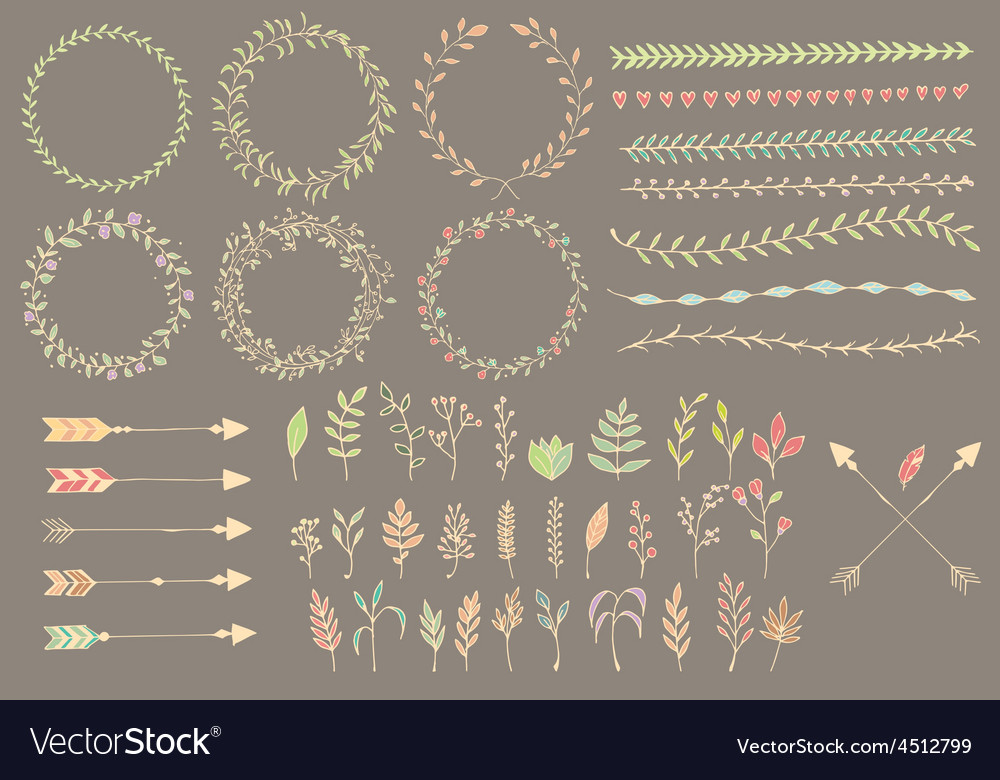 Hand drawn vintage arrows dividers flowers vector