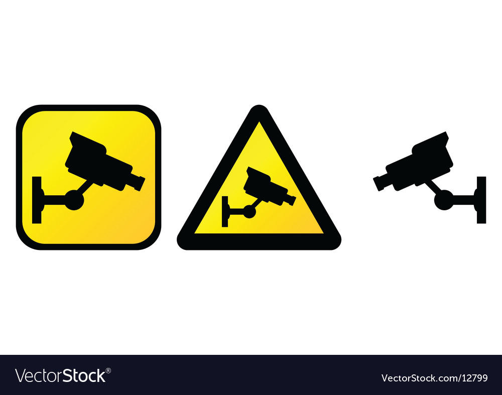 Surveillance camera sign vector