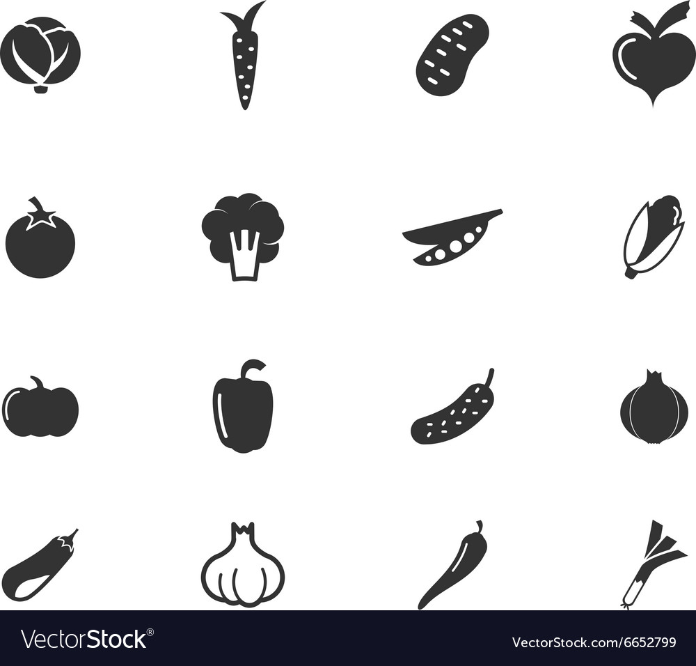 Vegetables web icon set vector