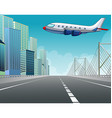 Airplane flying over the city vector image vector image