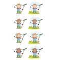 Farmer Kids With Rakes vector image vector image