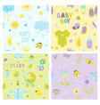 Baby Boy Background Set - Seamless Patterns vector image