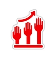 paper sticker on white background hand graph vector image