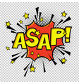asap comic sound comic speech bubble halftone vector image