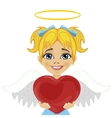 blonde little girl angel holding red heart vector image