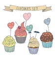 cartoon cupcakes set for family vector image