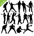 Cricket player silhouettes vector image