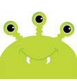 green monster head with three eyes fang tooth vector image