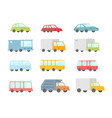 set of different cartoon transparent cars buses vector image